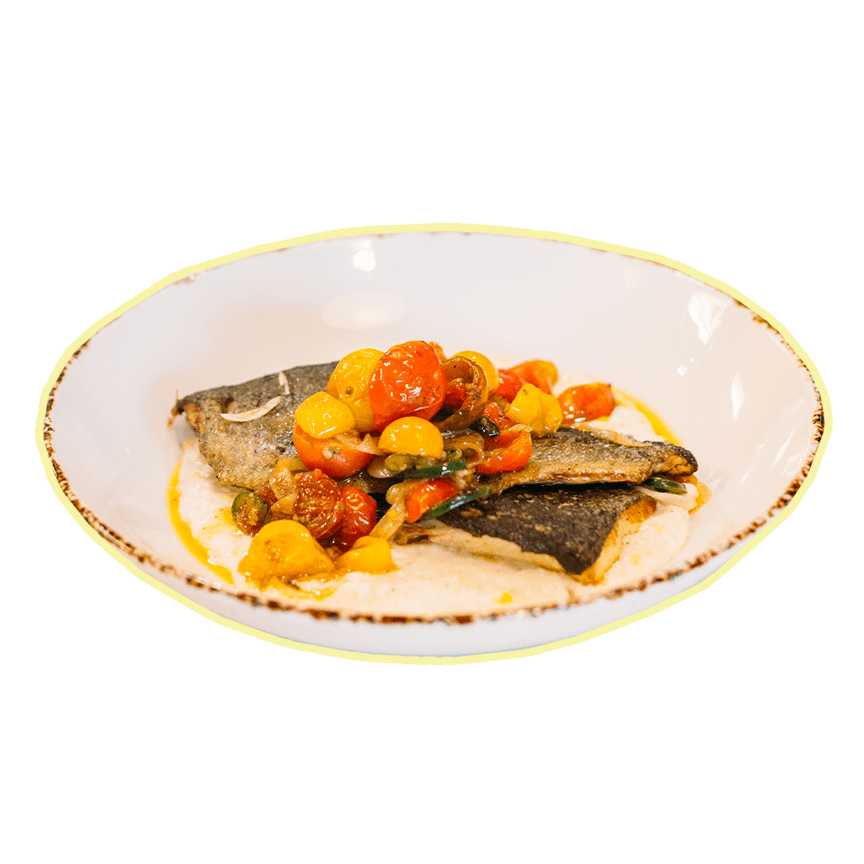 SAUTEED TROUT WITH CORNMEAL GRITS