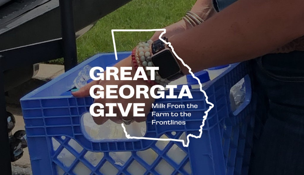 Great Georgia Give logo over an image of milk in a carton